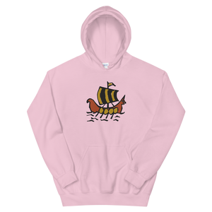 Roman Galleon Unisex Hooded Sweatshirt, Collection Ships & Boats-Light Pink-S-Tamed Winds-tshirt-shop-and-sailing-blog-www-tamedwinds-com