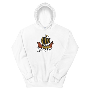 Roman Galleon Unisex Hooded Sweatshirt, Collection Ships & Boats-White-S-Tamed Winds-tshirt-shop-and-sailing-blog-www-tamedwinds-com