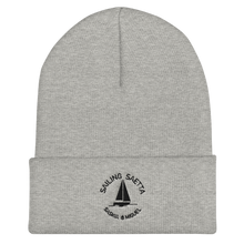 Sailing Saetta Cuffed Beanie, Embroidered Logo-Heather Grey-Tamed Winds-tshirt-shop-and-sailing-blog-www-tamedwinds-com