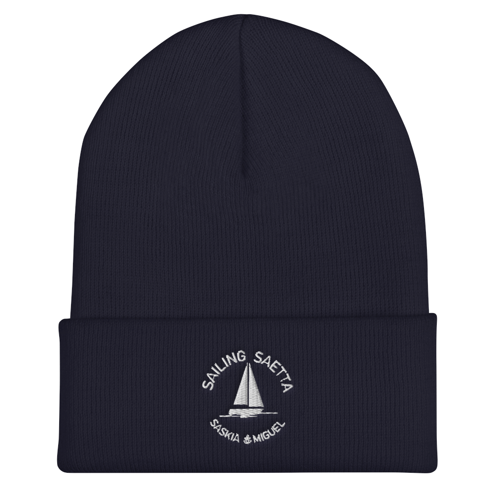 Sailing Saetta Cuffed Beanie, Embroidered Logo-Navy-Tamed Winds-tshirt-shop-and-sailing-blog-www-tamedwinds-com