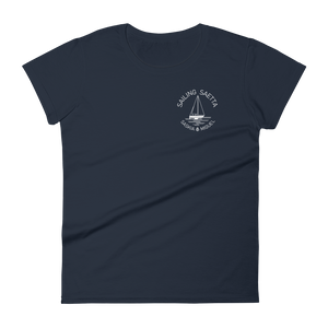Sailing Saetta Women's Round Neck T-Shirt-Navy-S-Tamed Winds-tshirt-shop-and-sailing-blog-www-tamedwinds-com