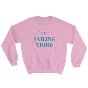 Sailing Tribe Unisex Crewneck Sweatshirt, Collection Origami Boat-Light Pink-S-Tamed Winds-tshirt-shop-and-sailing-blog-www-tamedwinds-com