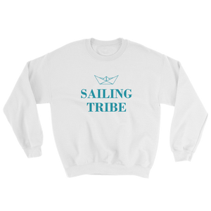 Sailing Tribe Unisex Crewneck Sweatshirt, Collection Origami Boat-White-S-Tamed Winds-tshirt-shop-and-sailing-blog-www-tamedwinds-com