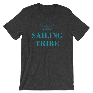 Sailing Tribe Unisex T-Shirt, Collection Origami Boat-Dark Grey Heather-S-Tamed Winds-tshirt-shop-and-sailing-blog-www-tamedwinds-com