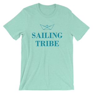 Sailing Tribe Unisex T-Shirt, Collection Origami Boat-Heather Mint-S-Tamed Winds-tshirt-shop-and-sailing-blog-www-tamedwinds-com
