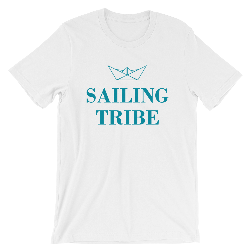 Sailing Tribe Unisex T-Shirt, Collection Origami Boat-White-S-Tamed Winds-tshirt-shop-and-sailing-blog-www-tamedwinds-com