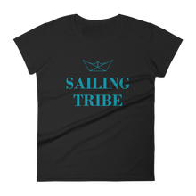 Sailing Tribe Women's Round Neck T-Shirt, Collection Origami Boat-Black-S-Tamed Winds-tshirt-shop-and-sailing-blog-www-tamedwinds-com