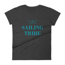 Sailing Tribe Women's Round Neck T-Shirt, Collection Origami Boat-Heather Dark Grey-S-Tamed Winds-tshirt-shop-and-sailing-blog-www-tamedwinds-com