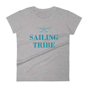 Sailing Tribe Women's Round Neck T-Shirt, Collection Origami Boat-Heather Grey-S-Tamed Winds-tshirt-shop-and-sailing-blog-www-tamedwinds-com