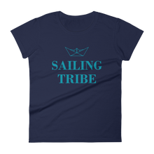 Sailing Tribe Women's Round Neck T-Shirt, Collection Origami Boat-Navy-S-Tamed Winds-tshirt-shop-and-sailing-blog-www-tamedwinds-com