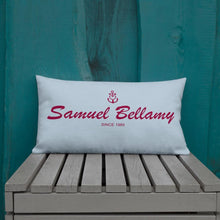 Samuel Bellamy Light Grayish Blue Decorative Pillow, Collection Pirate Tales-Tamed Winds-tshirt-shop-and-sailing-blog-www-tamedwinds-com