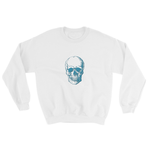 Skull Unisex Crewneck Sweatshirt, Collection Jolly Roger-White-S-Tamed Winds-tshirt-shop-and-sailing-blog-www-tamedwinds-com