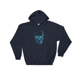 Skull Unisex Hooded Sweatshirt, Collection Jolly Roger-Navy-S-Tamed Winds-tshirt-shop-and-sailing-blog-www-tamedwinds-com
