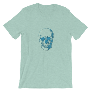 Skull Unisex T-Shirt, Collection Jolly Roger-Heather Prism Dusty Blue-S-Tamed Winds-tshirt-shop-and-sailing-blog-www-tamedwinds-com
