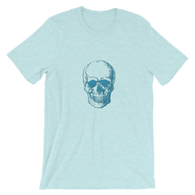 Skull Unisex T-Shirt, Collection Jolly Roger-Heather Prism Ice Blue-S-Tamed Winds-tshirt-shop-and-sailing-blog-www-tamedwinds-com