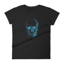 Skull Women's Round Neck T-Shirt, Collection Jolly Roger-Black-S-Tamed Winds-tshirt-shop-and-sailing-blog-www-tamedwinds-com