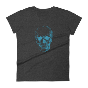 Skull Women's Round Neck T-Shirt, Collection Jolly Roger-Heather Dark Grey-S-Tamed Winds-tshirt-shop-and-sailing-blog-www-tamedwinds-com
