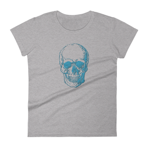 Skull Women's Round Neck T-Shirt, Collection Jolly Roger-Heather Grey-S-Tamed Winds-tshirt-shop-and-sailing-blog-www-tamedwinds-com