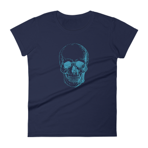Skull Women's Round Neck T-Shirt, Collection Jolly Roger-Navy-S-Tamed Winds-tshirt-shop-and-sailing-blog-www-tamedwinds-com