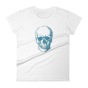 Skull Women's Round Neck T-Shirt, Collection Jolly Roger-White-S-Tamed Winds-tshirt-shop-and-sailing-blog-www-tamedwinds-com