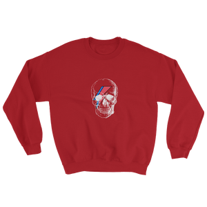 Starman Skull Unisex Crewneck Sweatshirt, Collection Jolly Roger-Red-S-Tamed Winds-tshirt-shop-and-sailing-blog-www-tamedwinds-com