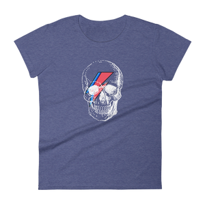 Starman Skull Women's Round Neck T-Shirt, Collection Jolly Roger-Heather Blue-S-Tamed Winds-tshirt-shop-and-sailing-blog-www-tamedwinds-com