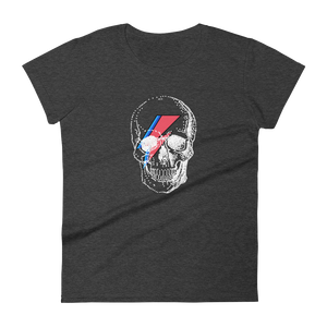 Starman Skull Women's Round Neck T-Shirt, Collection Jolly Roger-Heather Dark Grey-S-Tamed Winds-tshirt-shop-and-sailing-blog-www-tamedwinds-com