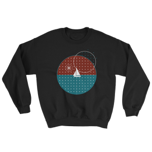 Starry Night Unisex Crewneck Sweatshirt, Collection Fjaka-Black-S-Tamed Winds-tshirt-shop-and-sailing-blog-www-tamedwinds-com