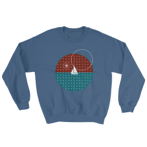 Starry Night Unisex Crewneck Sweatshirt, Collection Fjaka-Indigo Blue-S-Tamed Winds-tshirt-shop-and-sailing-blog-www-tamedwinds-com