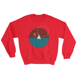 Starry Night Unisex Crewneck Sweatshirt, Collection Fjaka-Red-S-Tamed Winds-tshirt-shop-and-sailing-blog-www-tamedwinds-com