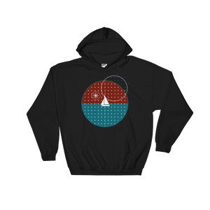 Starry Night Unisex Hooded Sweatshirt, Collection Fjaka-Black-S-Tamed Winds-tshirt-shop-and-sailing-blog-www-tamedwinds-com