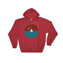 Starry Night Unisex Hooded Sweatshirt, Collection Fjaka-Red-S-Tamed Winds-tshirt-shop-and-sailing-blog-www-tamedwinds-com