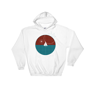 Starry Night Unisex Hooded Sweatshirt, Collection Fjaka-White-S-Tamed Winds-tshirt-shop-and-sailing-blog-www-tamedwinds-com