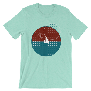 Starry Night Unisex T-Shirt, Collection Fjaka-Heather Mint-S-Tamed Winds-tshirt-shop-and-sailing-blog-www-tamedwinds-com