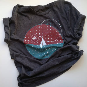 Starry Night Unisex T-Shirt, Collection Fjaka-Tamed Winds-tshirt-shop-and-sailing-blog-www-tamedwinds-com