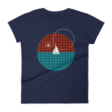 Starry Night Women's Round Neck T-Shirt, Collection Fjaka-Navy-S-Tamed Winds-tshirt-shop-and-sailing-blog-www-tamedwinds-com