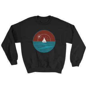 Sunset Unisex Crewneck Sweatshirt, Collection Fjaka-Black-S-Tamed Winds-tshirt-shop-and-sailing-blog-www-tamedwinds-com