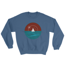 Sunset Unisex Crewneck Sweatshirt, Collection Fjaka-Indigo Blue-S-Tamed Winds-tshirt-shop-and-sailing-blog-www-tamedwinds-com