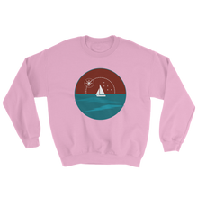 Sunset Unisex Crewneck Sweatshirt, Collection Fjaka-Light Pink-S-Tamed Winds-tshirt-shop-and-sailing-blog-www-tamedwinds-com