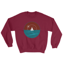 Sunset Unisex Crewneck Sweatshirt, Collection Fjaka-Maroon-S-Tamed Winds-tshirt-shop-and-sailing-blog-www-tamedwinds-com