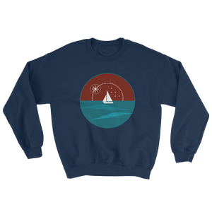 Sunset Unisex Crewneck Sweatshirt, Collection Fjaka-Navy-S-Tamed Winds-tshirt-shop-and-sailing-blog-www-tamedwinds-com