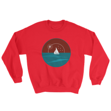 Sunset Unisex Crewneck Sweatshirt, Collection Fjaka-Red-S-Tamed Winds-tshirt-shop-and-sailing-blog-www-tamedwinds-com