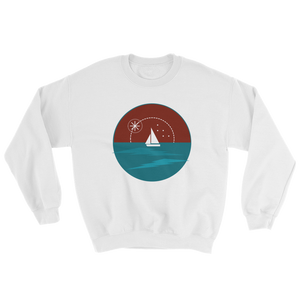 Sunset Unisex Crewneck Sweatshirt, Collection Fjaka-White-S-Tamed Winds-tshirt-shop-and-sailing-blog-www-tamedwinds-com