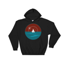 Sunset Unisex Hooded Sweatshirt, Collection Fjaka-Black-S-Tamed Winds-tshirt-shop-and-sailing-blog-www-tamedwinds-com