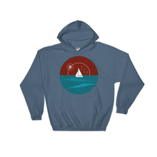 Sunset Unisex Hooded Sweatshirt, Collection Fjaka-Indigo Blue-S-Tamed Winds-tshirt-shop-and-sailing-blog-www-tamedwinds-com