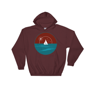 Sunset Unisex Hooded Sweatshirt, Collection Fjaka-Maroon-S-Tamed Winds-tshirt-shop-and-sailing-blog-www-tamedwinds-com