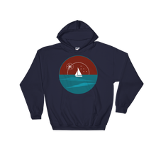 Sunset Unisex Hooded Sweatshirt, Collection Fjaka-Navy-S-Tamed Winds-tshirt-shop-and-sailing-blog-www-tamedwinds-com