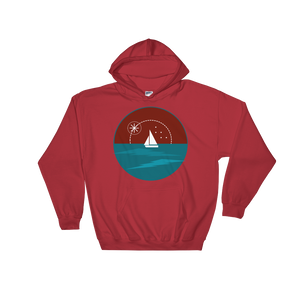 Sunset Unisex Hooded Sweatshirt, Collection Fjaka-Red-S-Tamed Winds-tshirt-shop-and-sailing-blog-www-tamedwinds-com