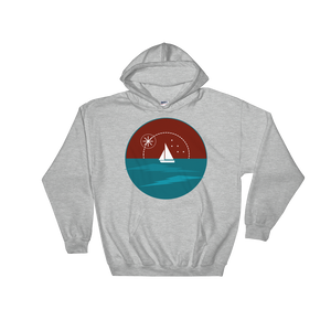 Sunset Unisex Hooded Sweatshirt, Collection Fjaka-Sport Grey-S-Tamed Winds-tshirt-shop-and-sailing-blog-www-tamedwinds-com