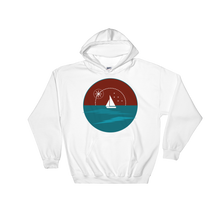Sunset Unisex Hooded Sweatshirt, Collection Fjaka-White-S-Tamed Winds-tshirt-shop-and-sailing-blog-www-tamedwinds-com